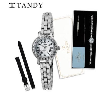[입점특가][TANDY]  탠디 모던클래식 여성용 메탈시계 4017 실버 (가죽밴드+교체공구증정)