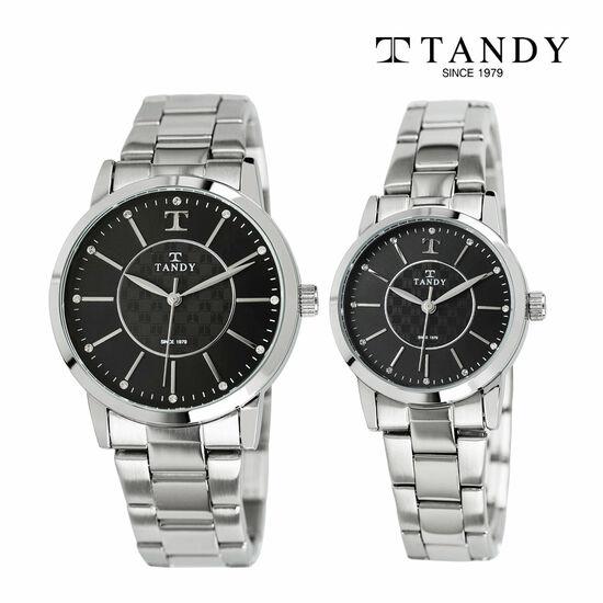 [입점특가][TANDY] 탠디 시그니쳐 럭셔리 커플 메탈 손목시계(스와로브스키 식입) T-3915 블랙