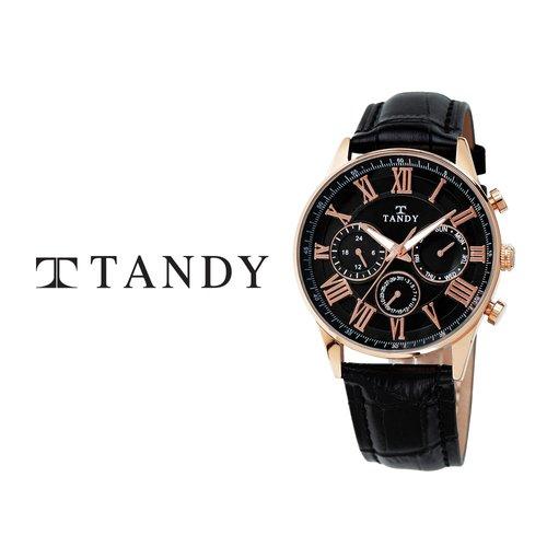 [입점특가/MD추천][TANDY] 탠디 클래식 남성용 멀티펑션 가죽시계 1712 로즈블랙