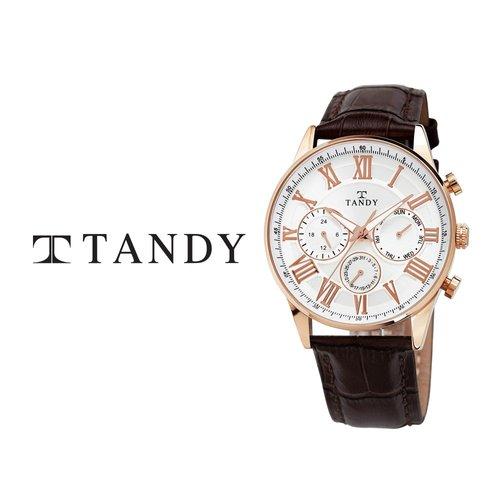 [입점특가][TANDY] 탠디 클래식 남성용 멀티펑션 가죽시계 1712 로즈브라운