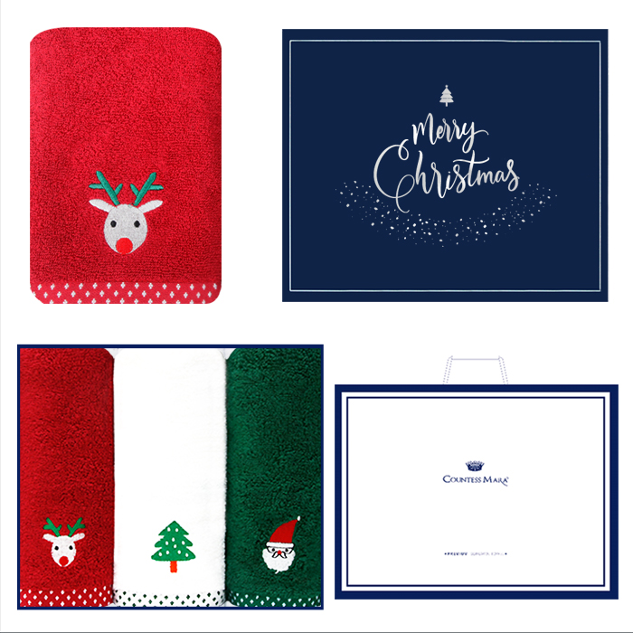 송월 크리스마스 프렌즈 3매세트+쇼핑백