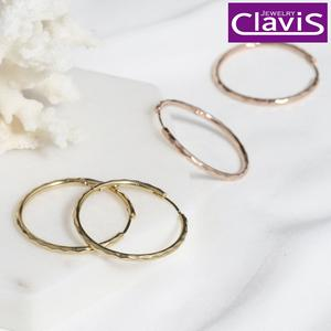 Clavis [클라비스] 14k 심플 컷팅링 원터치 귀걸이 CL14kp EGP202