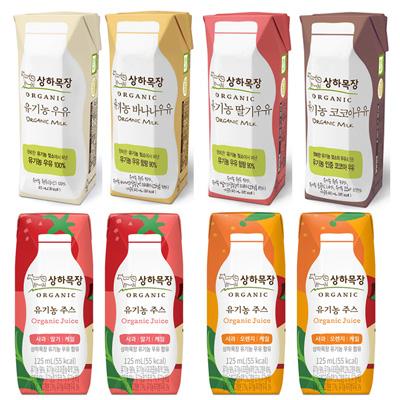 상하목장 유기농 우유/주스 125ml*24팩 조합 (흰/딸기/바나나/코코아/사과딸기케일/사과오렌지케일) 대표이미지 섬네일