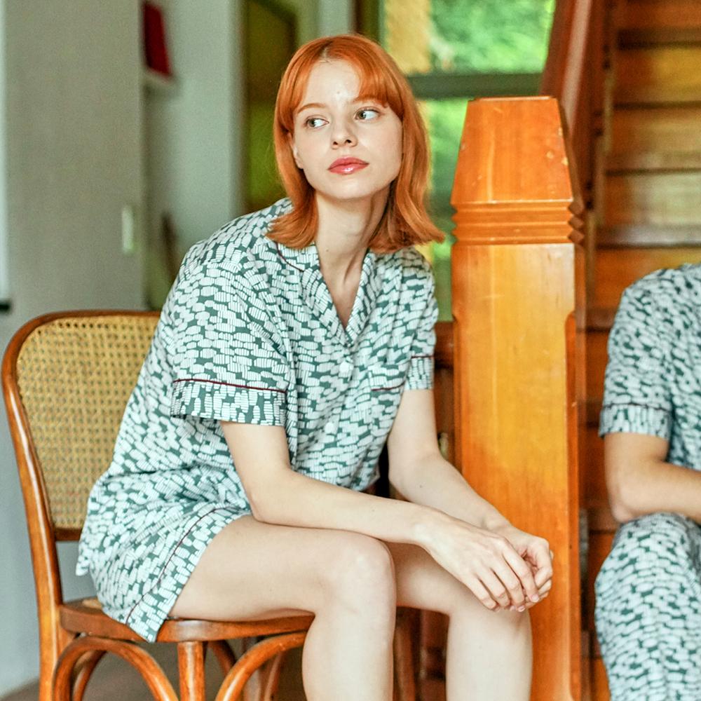 여자 그린제르미 잠옷 숏세트 (2종 반소매상의 + 반바지)