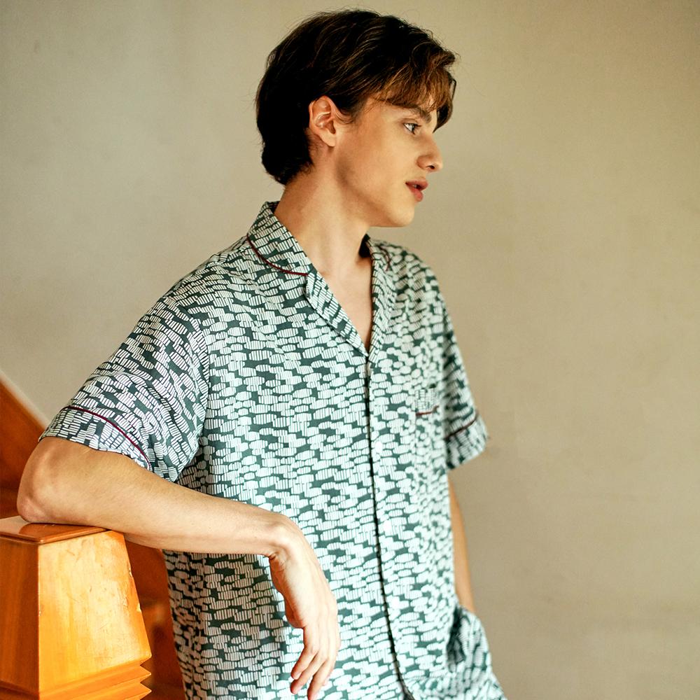 남자 그린제르미 잠옷 숏세트 (2종 반소매상의+긴바지)