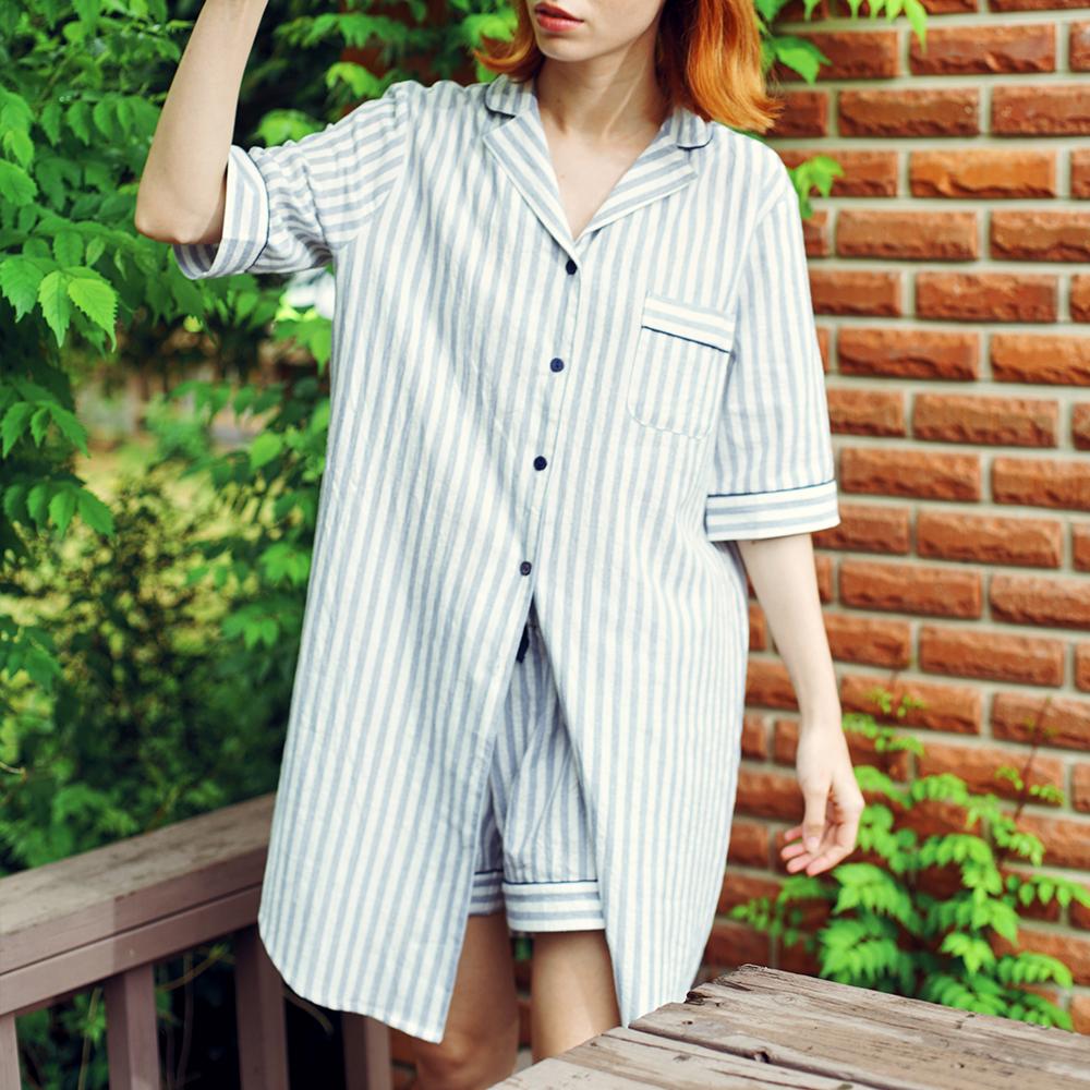 여자 블루스트라이프 원피스 잠옷세트 (원피스+반바지)