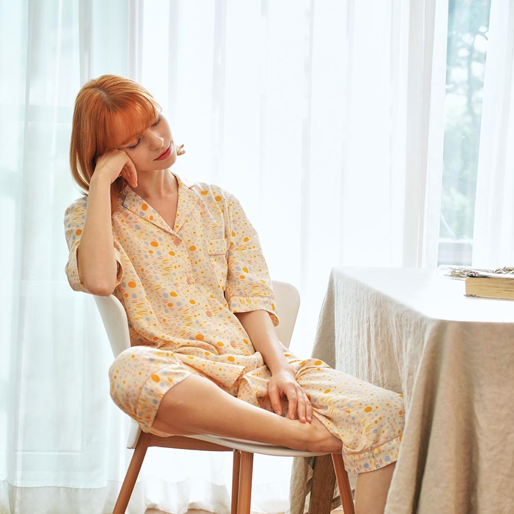 여자 레몬스파클링 원피스 잠옷세트 (원피스+7부바지)